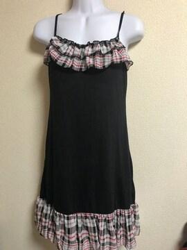 ★黒×チェック柄 裾バルーンキャミワンピ  M★
