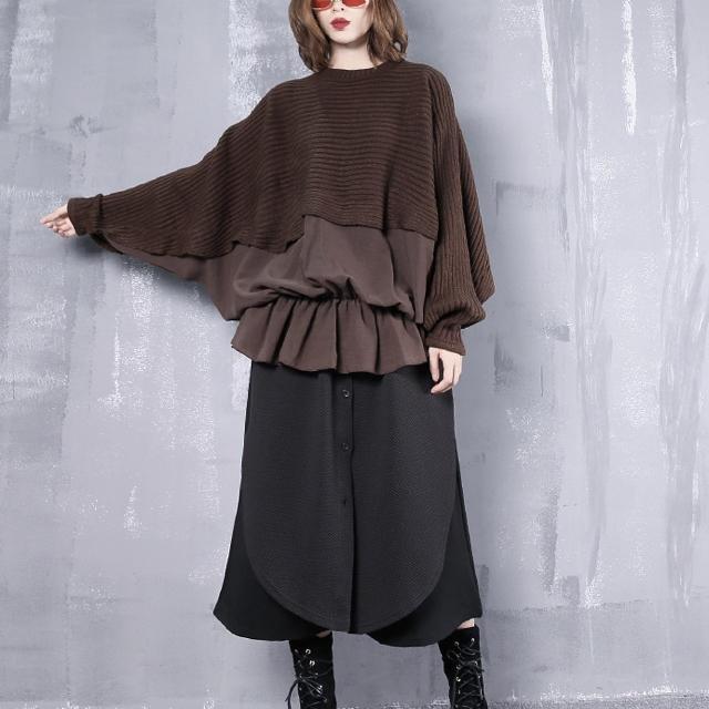 ドルマンチュニック ニット生地 異素材切り替え ブラウン 長袖 < 女性ファッションの