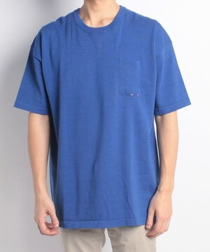 新品フラボアFRAPBOISコットンニットカットソー3青メリヤス半袖