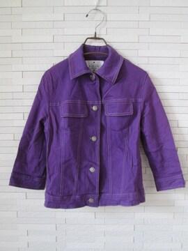 即決/ALPHABET CLUB/七分袖ストレッチカラージャケット/紫
