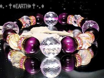 天然石★ピンクタイガーアイ&カット水晶デザイン数珠