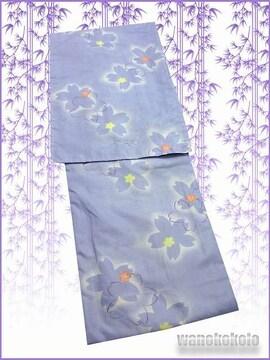 【和の志】夏の洗える着物◇絽Lサイズ◇青藤色系・桜◇RKL-3