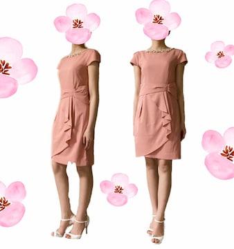 キャバパーティー襟元キラキラビジュー付ワンピースドレスピンク(M)美品